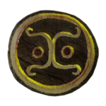 Yellow glyph magically floating above wooden disk (digital effects)