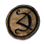 Glyph burned into wooden disk (digital effects)