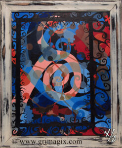 Gears and spirals superimposed over one another with a distressed frame