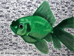 A green goldfish against a background of stamped fish and wave shapes