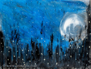 A moon against a dark blue starry sky on an abstract horizon that could be woods with fireflies or a city skyline