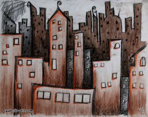 Whimsical city skyline done in shades of brown & black