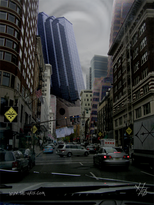 A downtown street with a vortex in the sky, sucking one of the skyscrapers out by the roots